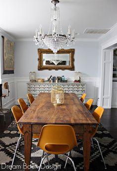Best ever Dining Room Reveal. A little bit of moulding and vintage finds work wonders.