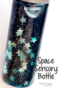 One of the easiest, and most beautiful, sensory bottles out there! With its floating stars, its perfect for a space or galaxy theme. It's also great as a calming tool or in a sensory room! Sensory Bottles Preschool, Sensory Tubs, Sensory Rooms, Sensory Boards, Sensory Play, Quiet Time Activities, Sensory Activities, Infant Activities, Learning Activities