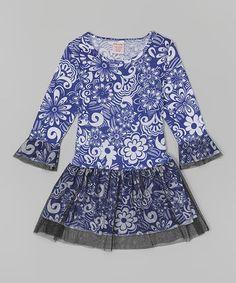 Look at this #zulilyfind! Blue Floral Dress - Girls #zulilyfinds
