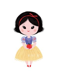 Snow White Art Print, 8X10 Princess illustration. $22.00, via Etsy. by PaperPlants