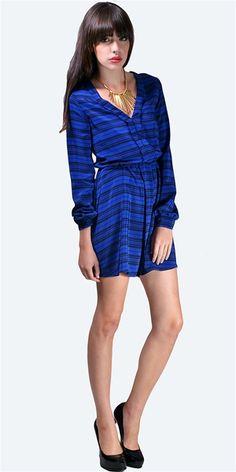 Dolce Vita - Long Sleeve V Neck Front & Back Dress - Blue