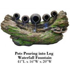 Pots Pouring into Log Rainforest Fountain #PotsPouringintoLogRainforestFountain http://fountainhut.com/pots-pouring-log-rainforest-fountain/