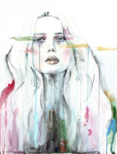 War Paint - by defectivebarbie, dripping watercolor portrait painting