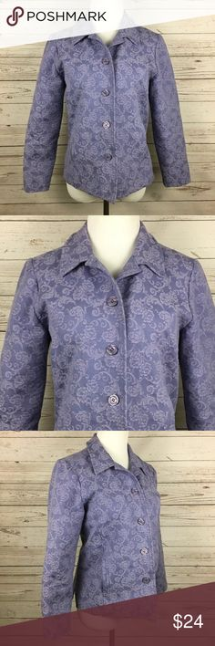 APPLESEEDS Purple Floral Blazer Size:  12 Petite Color:  Lavender Material:  73% Cotton, 24% Polyester, 3% Spandex Details:  Floral Care:  Machine Wash Condition:  No Rips or Stains All measurements are in inches and taken with garment laying flat.  Not doubled.  Bust:  20 Waist:  19 Hem:  22 Shoulder to Hem:  22  Item:  4850317082 Appleseed's Jackets & Coats Blazers