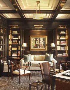 A handsome library with lacquered walls by David Kleinberg. 10 Interiors from 2016 Kips Bay Showhouse Designers. Home Library Rooms, Home Library Design, Home Libraries, Home Office Design, House Design, Library Bar, Library Ideas, Kips Bay Showhouse, Interior Decorating
