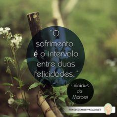 """""""O sofrimento é o intervalo entre duas felicidades."""" - Vinícius de Moraes"""