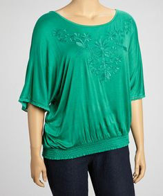 Take a look at this Emerald Floral Embroidery Smocked Top - Plus by Simply Irresistible on #zulily today!
