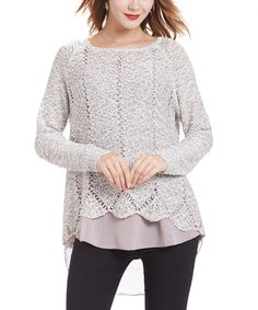 Look at this Simply Couture Pink Crochet Zip-Back Layered Tunic on #zulily today!