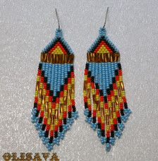 Beautiful beaded dangle peyote earrings with fringe.Native American style, Boho style. Earrings made from Czech beads. Surgical Steel ear wires. Measurements: Length - 9 .5 cm (including ear wires) Width - 2,3 cm more earrings here http://www.etsy.com/shop/Olisava?section_id=14128476