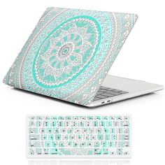 """Amazon.com: iCasso Rubber Coated Hard Shell Protective Case For Newest Macbook Pro 13""""Retina Model A1706/A1708 with/without Touch Bar and Touch ID with Keyboard Cover (Blue&White Medallion): Computers & Accessories"""