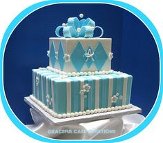 Tiffany Blue and White Baby Shower Cake