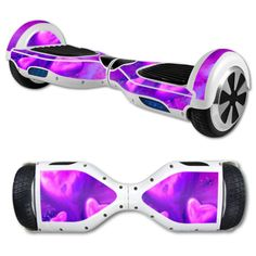 a hover board that has  pink and purple hearts on it that is a decal           and is 21 dollars and 99 cents