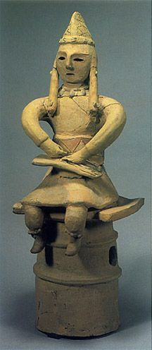 The Kofun period art, Haniwa terracotta clay figure with koto. Kanagawa Japan
