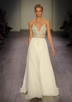 Hayley Paige Fall 2016 a-line wedding dress with gold sequined embellishments | https://www.theknot.com/content/hayley-paige-wedding-dresses-bridal-fashion-week-fall-2016
