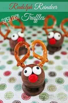 Rudolph Reindeer Truffles Recipe — Dress up chocolate truffles with this fun & easy Christmas dessert idea. Great for holiday parties!