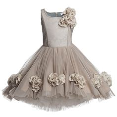 Monnalisa Chic Beige Limited Edition Tulle Dress | Childrensalon