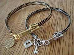 okay..zipper bracelets...these are fun..and easy..zippers and charms...I can do this