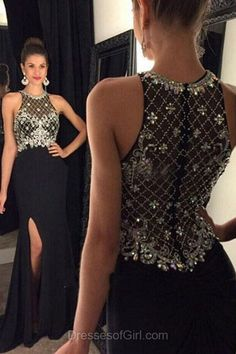 Sheath Prom Dresses, Black Prom Dress, Sexy Evening Gowns, Chiffon Party Dresses, Scoop Neck Formal Dresses