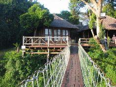 Mara Intrepids Camp from across the Talek walking bridge in Masai Mara.