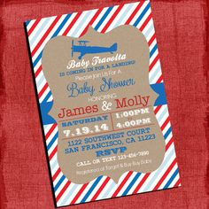 Airplane Theme Baby Shower Invitation Vintage Invite  4x6 or 5x7 Invitation-I Design You Print on Etsy, $15.00