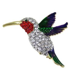 Superb Flying Hummingbird Brooch Multicolor Sparkling Crystals: Hummingbird Brooch  In Bright Colors. Set With Sparkling Crystals. Measures X