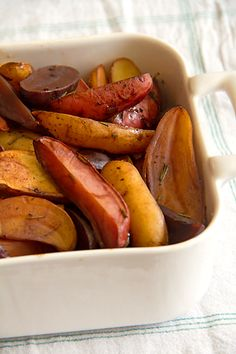 "Balsamic and rosemary glazed fingerling potatoes via @Greg Henry | Sippity Sup for a ""Plant Slant"" Thanksgiving"