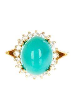 18K Yellow Gold Oval Cabochon Turquoise & Round Diamonds Cocktail Ring by Non Specific on @HauteLook