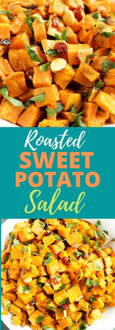 This Roasted Sweet Potato Salad is perfection!! The best ever!! So good. Great as a side dish--vegan and gluten free. Great healthy sweet potato recipe~ Cubed Sweet Potatoes, Salad With Sweet Potato, Roasted Sweet Potatoes, Potato Salad, Clean Eating Dinner, Clean Eating Recipes, Dinner Healthy, Happy Healthy, Eating Healthy