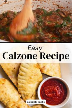 This easy calzone recipe features homemade pizza dough and a veggie and two-cheese filling. Dip it in zesty pizza sauce and prepare to be amazed. | healthy dinner recipes | calzone recipe | vegetarian recipes | easy meals | #calzone #pizza #recipe #easy #simple #mealprep #dinner #italian #vegetarian