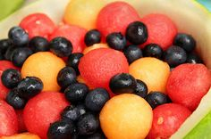 13 Spectacular Fresh Fruit Salads ...e.g. watermelon and cantaloupe balls with blueberries