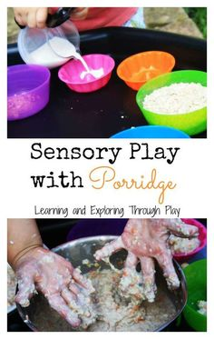 Learning and Exploring Through Play: Sensory Play with Porridge A delightful sensory play set up with creamy porridge. Bring to life Goldilocks and the Three Bears. Fairy Tale Activities, Eyfs Activities, Book Activities, Indoor Activities, Summer Activities, Traditional Stories, Traditional Tales, Bears Preschool, Preschool Crafts