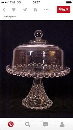 Duncan Miller Glass Pedestal Cake Stand with large beaded rim.