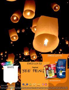 Kawan EMCO festival semacam Yee Peng juga pernah diselenggarakan di candi Borobudur. Keindahan warna warni lampion yang diterbangkan ke angkasa menjadi inspirasi untuk memperindah hunian Anda bersama EMCO LUX 76, EMCO  warna palet EMCO. Anda juga dapat melihat banyak artikel menarik lainnya di http://matarampaint.com/news.php