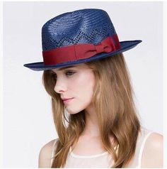 Handsome bow straw hat for women navy UV protection sun hats