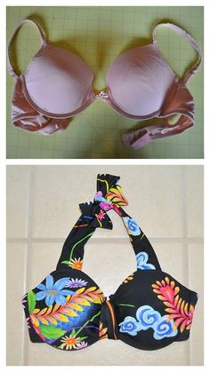 DIY Bra to Bathing Suit Top Tutorial from Tasha Delrae here. I love this tutorial! Another blogger recreated the above bra to suit top and also had good results. This is a good way to get a perfect fitting bathing suit top. If you go to the link she used an old bra that had seen better days.