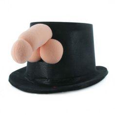 SOMBRERO DE COPA PITO.  Divertido sombrero de copa de color negro y un pito de felpa. Ideal para tus despedidas de soltera!