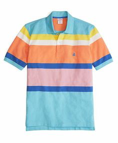 Golden Fleece® Original Fit Engineered Multistripe Polo Aqua