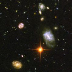 This photograph, taken in 2004 by the Hubble Space Telescope, is the farthest back we have ever seen into the distant, early universe. The galaxies seen here are the oldest known, from around the time of the big bang.