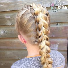 Double waterfall into a pullthrough braid. Combi braids for the #BirthdayWeekTwin today! Love this one! Might do it again with dutch braids on the side