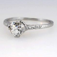 Delicate Art Deco Solitaire Old European Cut Engagement Ring
