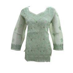 Mogulinterior Womens Kurta Top Green Floral Embroidered Summer Cotton Boho Tunic M