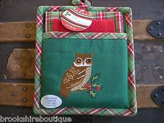 3 Piece Christmas Owl Pot Holder Set by Kay Dee – Brookshire Boutique