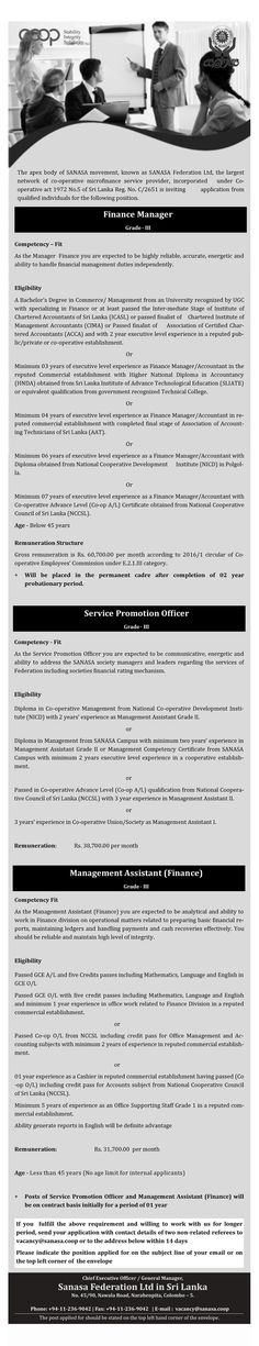 Sanasa Federation Ltd is seeking candidate for Finance Manager / Service Promotion Officer / Management Assistant (Finance) position. Accounting Jobs, Assistant Manager, Finance, Management, Positivity, Economics, Optimism