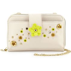 Betsey Johnson Pushing Daisies Tech Case Crossbody Bag ($27) ❤ liked on Polyvore featuring bags, handbags, shoulder bags, ivory, floral shoulder bag, pink crossbody, betsey johnson handbags, studded handbags and pink handbags
