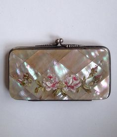 Antique Handpainted Floral Mother Of Pearl & Leather by bizzyjuly, $235.00