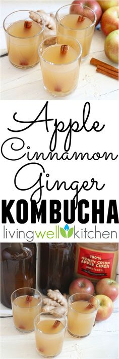 Spicy and sweet in one fizzy glass, this fermented beverage keeps your stomach happy & your tastebuds even happier! Apple Cinnamon Ginger Kombucha recipe from @memeinge is naturally gluten free and vegan