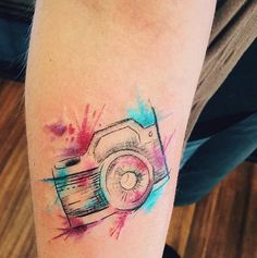 Watercolor camera tattoo
