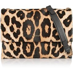 Lanvin Sugar medium leopard-print calf hair and leather shoulder bag ($1,405) ❤ liked on Polyvore featuring bags, handbags, shoulder bags, purses, animal print, leather purse, black handbags, leopard shoulder bag, leopard print handbags and leather shoulder bag