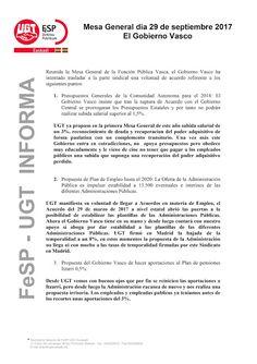 FeSP/UGT Euskadi en Mesa General exige el mantenimiento de las 35 horas.