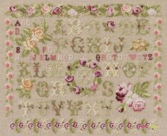 Cross Stitch Sampler Patterns, Cross Stitch Samplers, Cross Stitching, Cross Stitch Love, Mini Roses, Dmc, Le Point, Needlepoint, Needlework